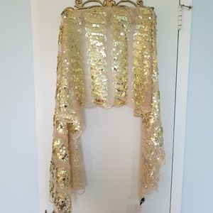 Gold Sequin Shawl-scarf-sarong